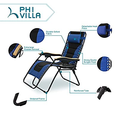 PHI VILLA Oversize XL Padded Zero Gravity Lounge Chair Wooden Armrest Adjustable Recliner with Cup Holder from PHI VILLA