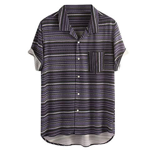 iHPH7 Original Printed Short Sleeve Button Down Shirt Mens Vintage Striped Turn Down Collar Short Sleeve Loose Beach Casual Shirt (L,Purple)