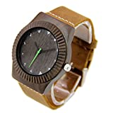 Natural Black Sandalwood Watches for Men with Genuine Leather Strap Gift Watch