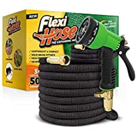 "Flexi Hose Upgraded Expandable Garden Hose, Extra Strength, 3/4"" Solid Brass Fittings - The Ultimate No-Kink Flexible Water Hose, 8 Function Spray Included"