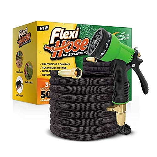 (Flexi Hose & 8 Function Nozzle, 50 FT Lightweight Expandable Garden Hose | No-Kink Flexibility - Extra Strength with 3/4 Inch Solid Brass Fittings & Double Latex Core | Rot, Crack, Leak Resistant)