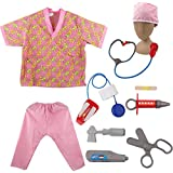 TOPTIE Nurse Role Play Costumes for Child, Halloween Costumes Ideas-Pink-S