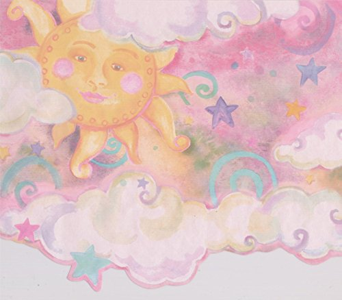 Smiling Sun Moon Pink Clouds Stars Kids Wallpaper Border Retro Design, Roll 15' x 10