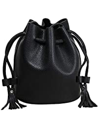 BMC Womens Textured Faux Leather Drawstring Style Cinch Sack Mini Handbag