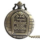 Vintage Retro Halloween Grotesque Night Skeleton Skull Necklace Sweater Chain Pocket Watch