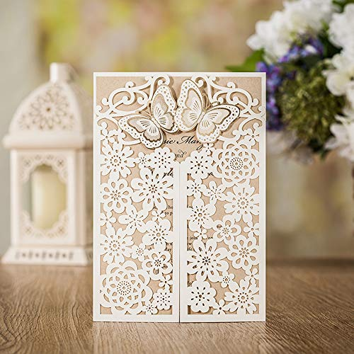 WISHMADE 50x Laser Cut Wedding Invitations Card with Butterfly White Hollow Flora Design for Bridal Shower Birthday Party (Set of 50 Pieces)