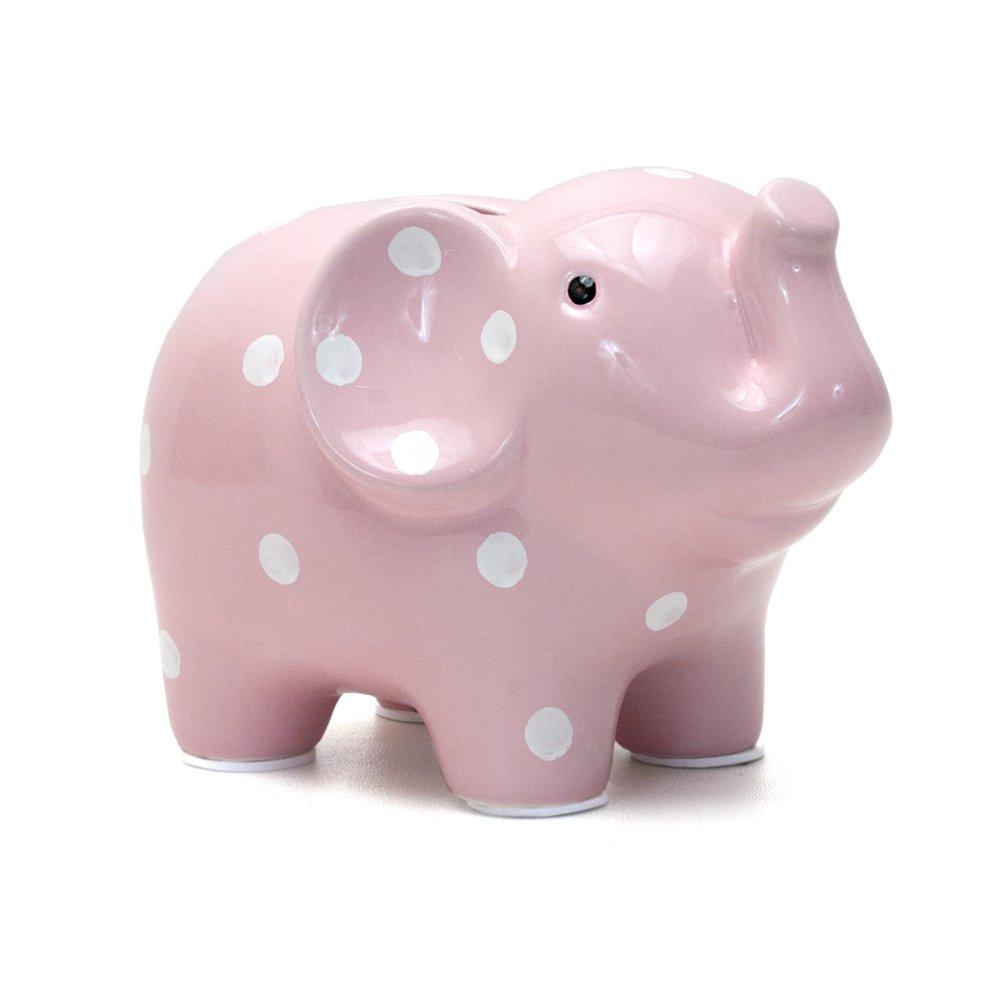 Child to Cherish Ceramic Polka Dot Elephant Piggy Bank for Girls, Pink