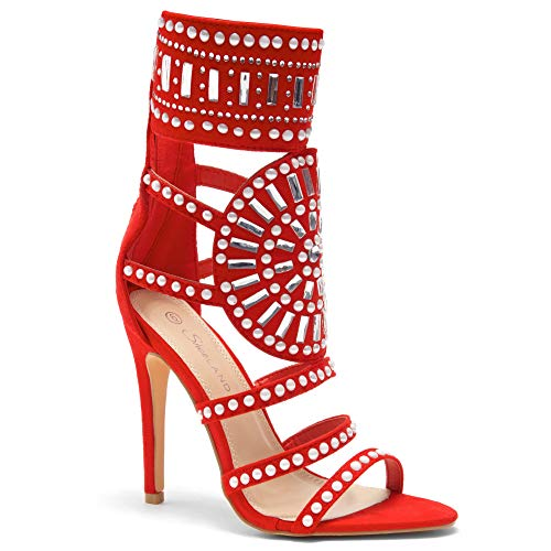 Herstyle Women's Fashion Crowd- Stiletto Heel, Jeweled Embellishment Red ()