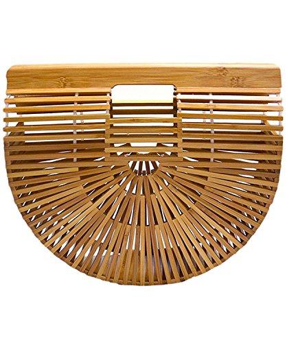 Synker Womens Top Handle Bamboo Handbag Handmade Summer Tote Beach Bags Bamboo