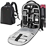 ESDDI Camera Backpack Waterproof Shockproof 32 * 15 * 46CM Camera Case with Compartment Featuring Padded Custom Dividers for Lenses, Laptop, Tripod Holder, Photography Accessories and DSLR Cameras