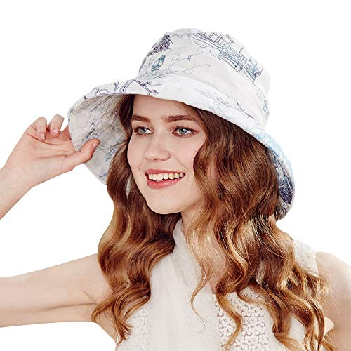 bluee Outdoor Sun Visor Foldable Hat Female Summer Big Hat Fashion Print Sun Hat Big Basin Hat (color   bluee, Size   57.5cm)