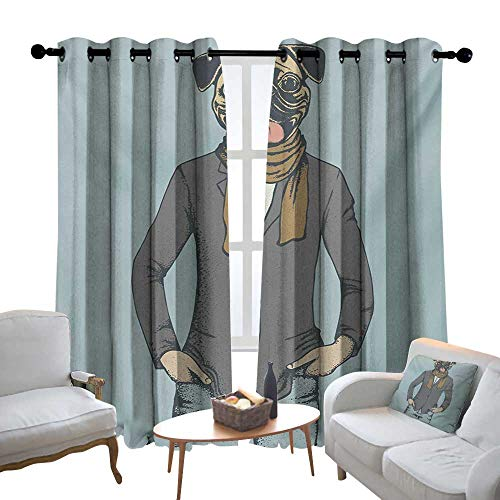 Curtains Pug,Abstract Image of a Dog with Human Proportions with Jacket Scarf and Jeans Absurd,Taupe Brown Blue,Treatments Thermal Insulated Light Blocking Drapes Back for Bedroom 84