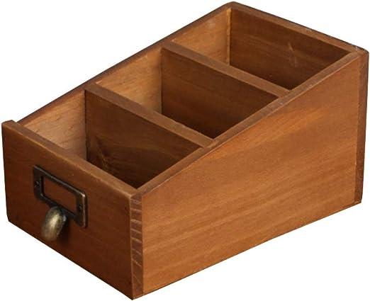 TOPBATHY Caja de Almacenamiento de Madera con Compartimentos ...