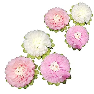 Paper Flower Decorations Off white and Pink Paper Flower, Handcrafted Flowers, Wall Hanging, Classic Giant Paper Flower, Wedding Backdrop, Baby Nursery Home Decor, Archway Decoration Pack of 6 93