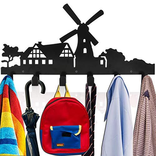 Windmill Design Wall-Mounted Cute Coat Rack Metal Hook for Bathroom Entryway Hanging Key Towel Backpack Umbrella Dog Leash,6 Hooks