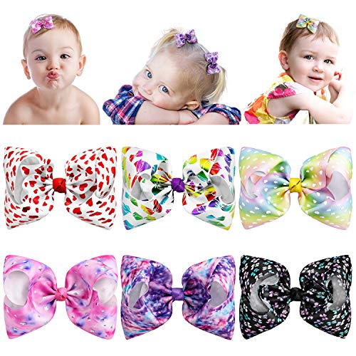 Esilia 6Pcs 3inch Hair Bows for Girls, Boutique Rainbow Grosgrain Ribbon Bow Hair Clips For Baby Toddler Girls with Pink Gift Package