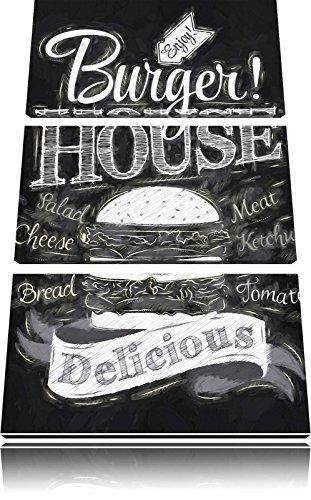 Burger House Pinsel Effekt 3-Teiler Leinwandbild 120x80 Bild auf Leinwand, XXL riesige Bilder fertig gerahmt mit Keilrahmen, Kunstdruck auf Wandbild mit Rahmen, gänstiger als Gemälde oder Ölbild, kein Poster oder Plakat