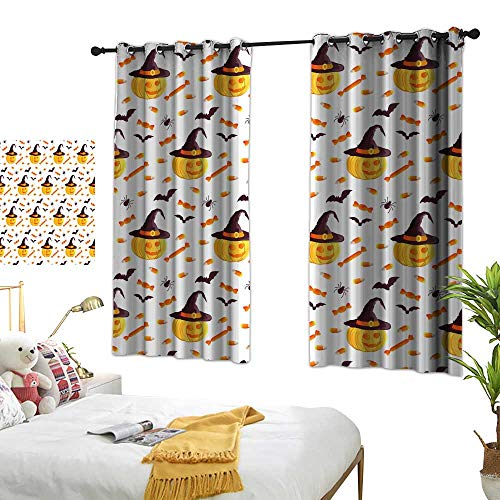 Perforated Curtain Festive Seamless Pattern Halloween Characters Jack o Lantern Witch hat bat Spider Corn Candy Vector Illustration on a White Background Usable for Design Packaging Wallpaper Textile ()