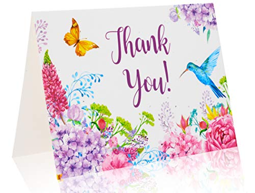 Thank You Cards – 36 blank Thank you cards with Envelopes & stickers - Excellent for Weddings, Bridal or Baby Showers, Business, Greeting. Floral Bulk assortment in 6 designs. by Big A Solutions