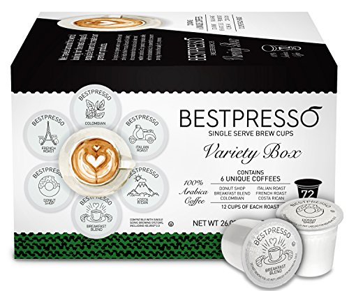 Coffee Pods Variety Pack (Bestpresso Coffee, Variety Pack Single Serve K-Cup, 72 Count (Compatible with 2.0 Keurig Brewers) )