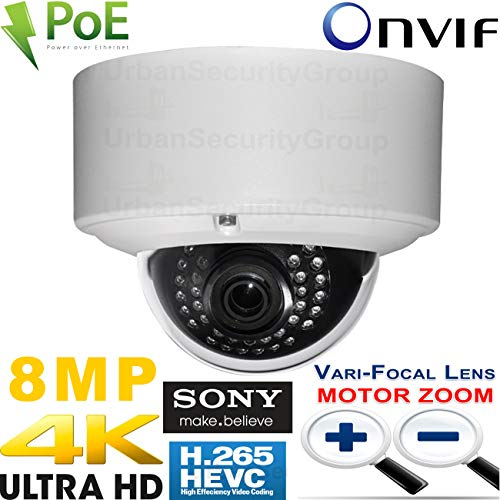 Urban Security Group Ultra 4K 3840x2160 Sony IMX274 Chip H.265 8MP IP Dome Camera : 8MP 3.3-12mm Motorized Auto-Focus Lens, PoE, IR LEDs, Outdoor Weatherproof, ONVIF 17.06 : Pro BusinessGrade