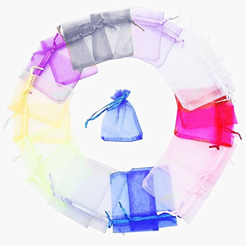 60 Pieces Organza Gift Bags - Mixed Color Sheer Organza Drawstring Pouches - Jewelry Wedding Party Favor Candy Gift Bags for Dried Lavender Buds Dry Flowers, 4.3  6.3 Inch