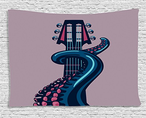 Ambesonne Octopus Tapestry, Sea Animal with Guitar Riff Musical Instrument Rock and Roll Modern Artwork Print, Wall Hanging for Bedroom Living Room Dorm, 60 W X 40 L Inches, Lilac Blue