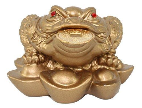 12.5cm Antique pure bronze three-legged seven-star gold toad statue Collection