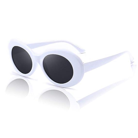 mejores marcas bueno vanguardia de los tiempos White Clout Goggles. Lentes De Sol Blancas Estilo Hip-Hop para Mujer y  Hombre. Bad Bunny Lentes y Gafas de Kurt Cobain.