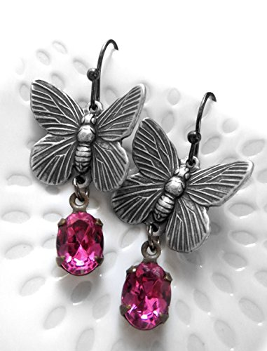 Antiqued Silver Plated Butterfly Earrings with Vintage Magenta Rhinestones, Gift for Nature Lover or Gardener, Mothers Day Gift (Oxidized Earrings Butterfly)
