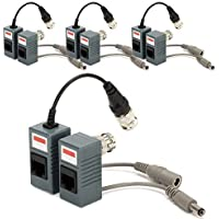 Armorview BNC to RJ45 CAT5 Cable Video + Power Balun Connector for CCTV Camera (Pack of 4 Pairs)