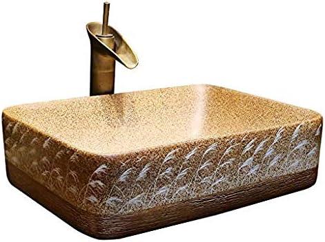 長方形洗面レトロセラミックホテルアンチスプラッシュ洗面バスルームのシンク