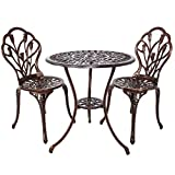 Patio Table Set HOMEFUN Bistro Table Set, Outdoor Patio Set 3 Piece Table and Chairs, Tulip Carving and Weather Resistant (Antique Bronze)