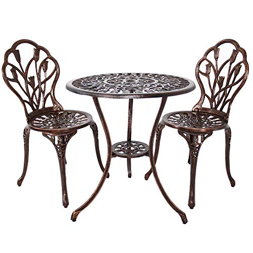 (HOMEFUN Bistro Table Set, Outdoor Patio Set 3 Piece Table and Chairs, Tulip Carving and Weather Resistant (Antique Bronze))