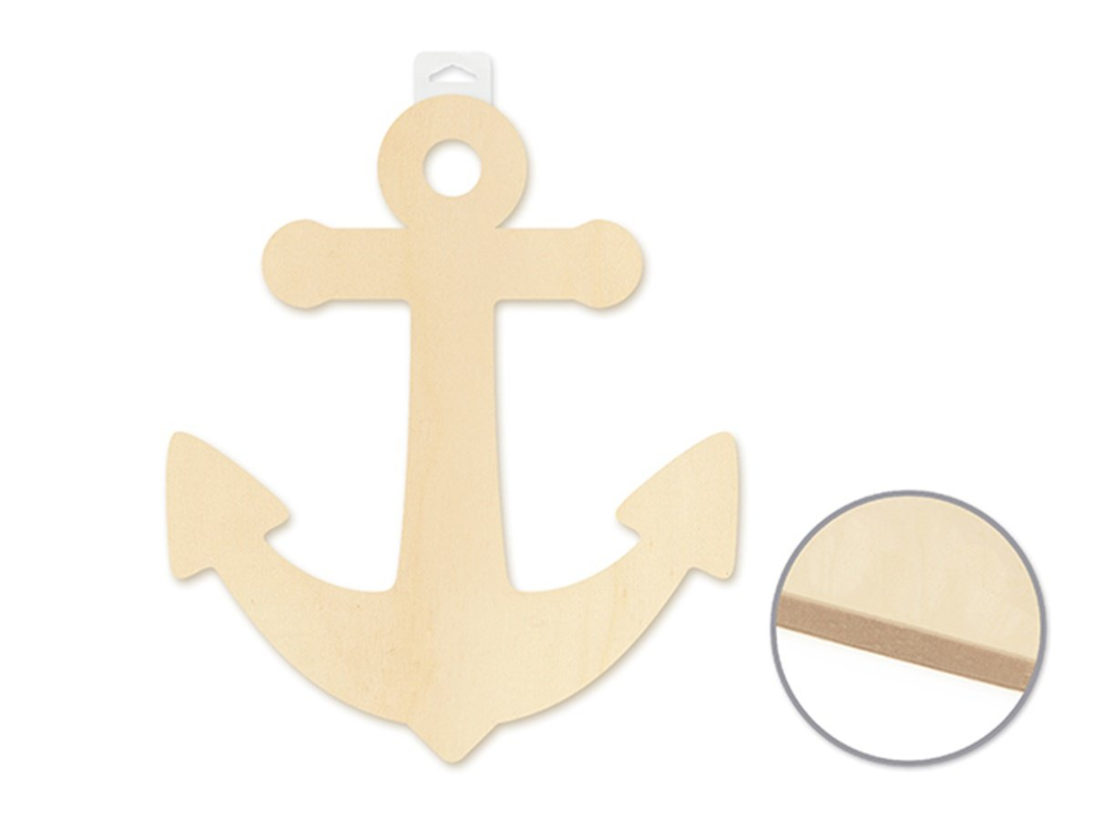 Wood Decor Paintable Wooden Wall Plaque (Anchor)