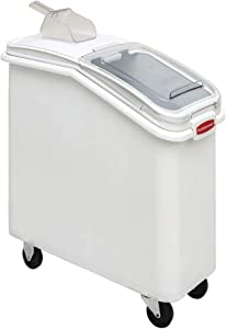 """Rubbermaid ProSave 21 gal White Plastic Ingredient Bin with Lid and 32 oz Scoop - 29 1/4 L x 13 1/8 W x 28"""" H"""