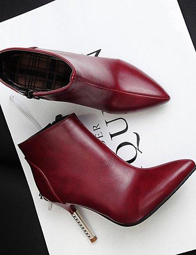 Uk8 5 us10 La Burgundy Bermellón Zapatos De Black Cn43 Cn34 Xzz A C Negro Botas Puntiagudos Vestido Eu35 Uk3 Eu42 Tacón us5 5 Casual Moda Mujer Semicuero Stiletto THWan