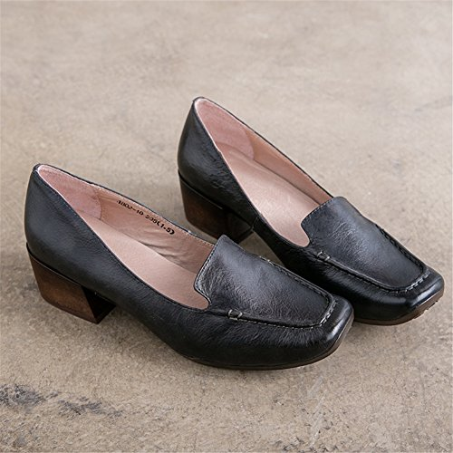 amp; Office Shoes for Women's Leather 37 Head B Square Color Ladies Career 2018 Heel New Size Shoes Block Dress w1Hw4q