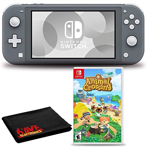 Nintendo Switch Lite (Gray) Console Bundle with Animal Crossing: New Horizons and 6Ave Cleaning Cloth