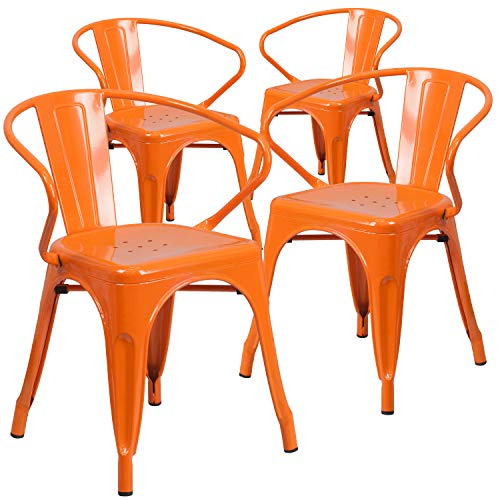 Flash Furniture Commercial Grade 4 Pack Orange Metal Indoor-Outdoor Chair with Arms