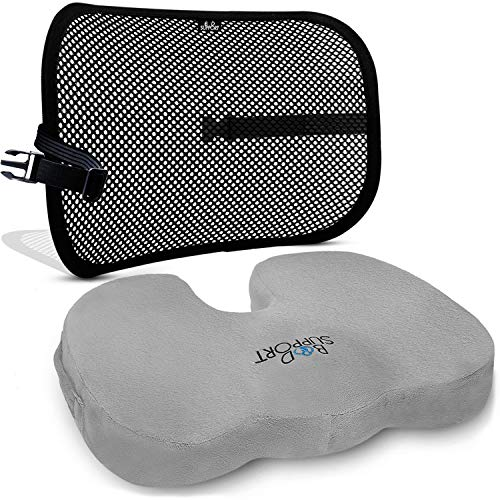 Back Support Seat Cushion Set - Lumbar Support Memory Foam with Orthopedic Design - Sciatica, Spinal Stenosis Pain Relief - Tailbone Cushion for Office, Car Kitchen Chairs - Mesh Breathable ()