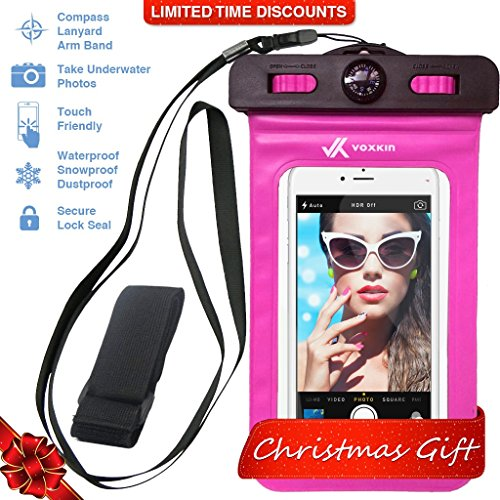[ PREMIUM QUALITY ] Universal Waterproof Phone Holder with ARM BAND, COMPASS & LANYARD - Best Water Proof, Dustproof, Snowproof & Shockproof Pouch Bag for Apple iPhone, Android & All SmartPhone