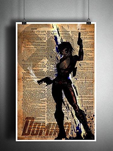 Domino original superhero art print on vintage dictionary page