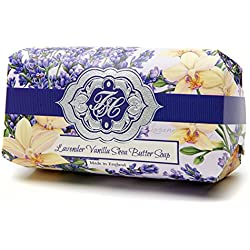 """Lavender Vanilla Flowers, Luxury Large Oversized, Beautifully Scented Shea Butter Soap Bar, Made in England, Triple Milled. Environmentally Friendly (Green). 8.0oz....SAVE by ordering """"3SPL17"""""""
