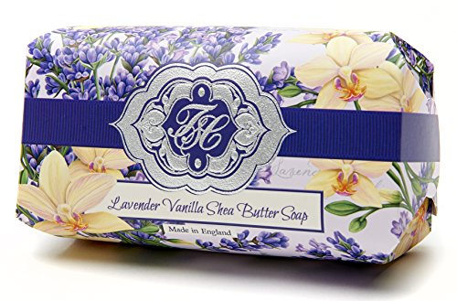 - Soap, Lavender Vanilla Flowers Bar Soap, Luxury Large Natural Skin Care Soap, Beautifully Scented Shea Butter, Soap Bar, Made in England, Triple Milled. Environmentally Friendly (Green). 8 Ounce