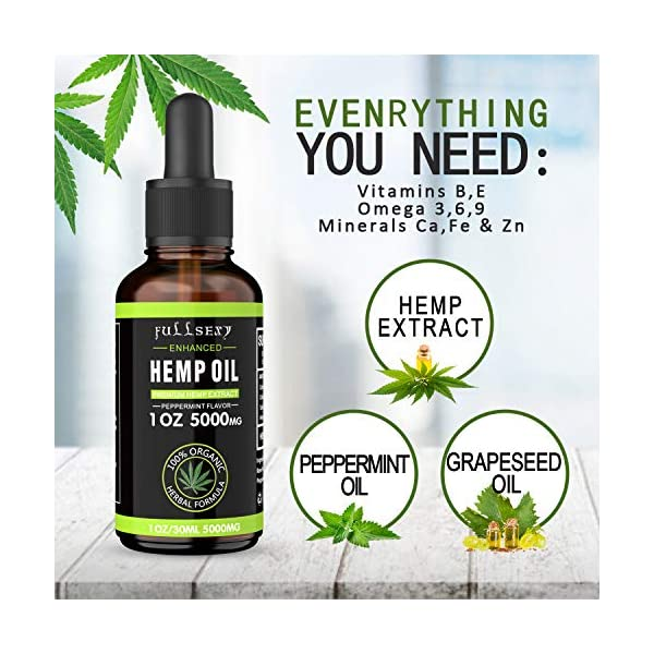 2 Pack 16.6% Hemp Oil Drops 30ML 5000MG, Great for Anxiety Pain Relief Sleep