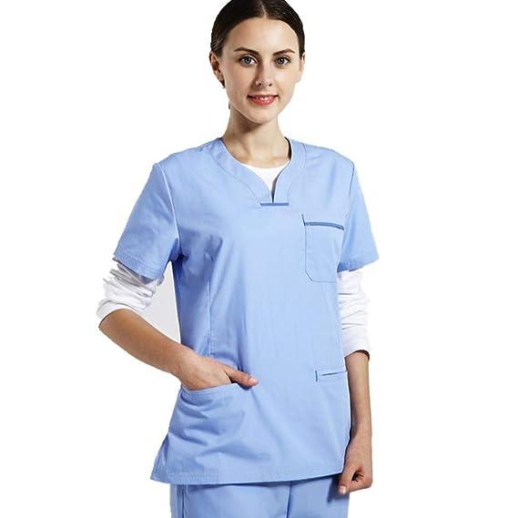 dcc9ed7aefa QZTG Medical coat Medical Body Scrub Hospital Equipment Nurse Doctor  Uniform Surgical Clothing Shirt Pants Dentist Clothes/Beauty Clothing:  Amazon.co.uk: ...