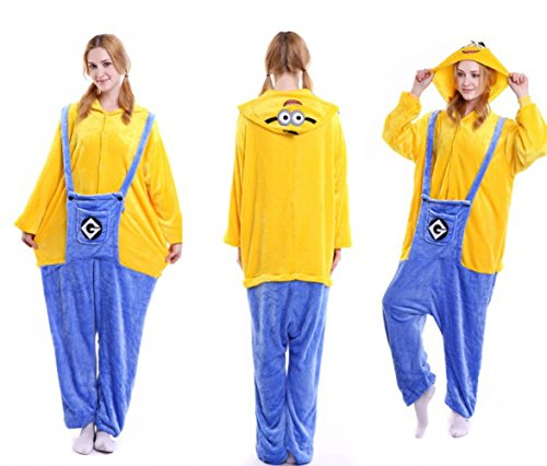 Sumimall Unisex-Adult Cosplay Piece Suits Cartoon Christmas Costume Pajamas Hoodie Sleepwear Nightwear Plus Size Minions (Minion Do It Yourself Costume)