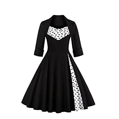 Byste Womens Vintage Style Rockabilly Evening Prom Swing Three Quarter Sleeve Dress, Noble Princess Style