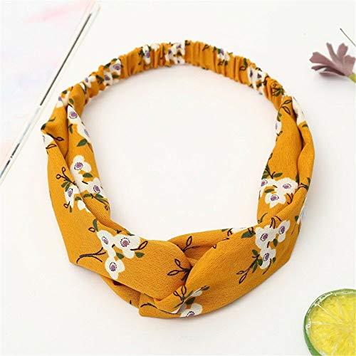 (Womens Boho Floral Twist Knot Headband Elastic Wrap Turban Hair Band Yoga Sports (Color - (Flower) Yellow))